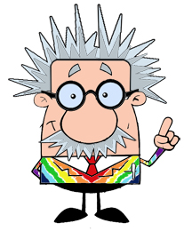 Graphic of rainbow jacketed science professor.